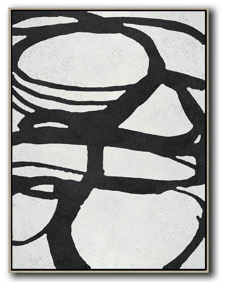 Black And White Minimal Painting On Canvas,Handmade Acrylic Painting #J4M7